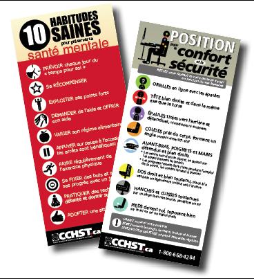 Affiches et documents infographiques : a) 10 habitudes saines pour prévente santé mentale. b) Position pour le confort et la sécurite