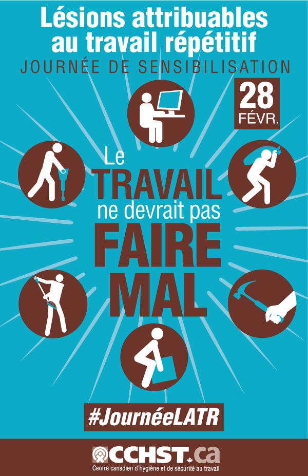 Lésions attribuables au travail répétitif Journée de sensibilisation aux LATR. LE TRAVAIL ne devrait pas FAIRE MAL.