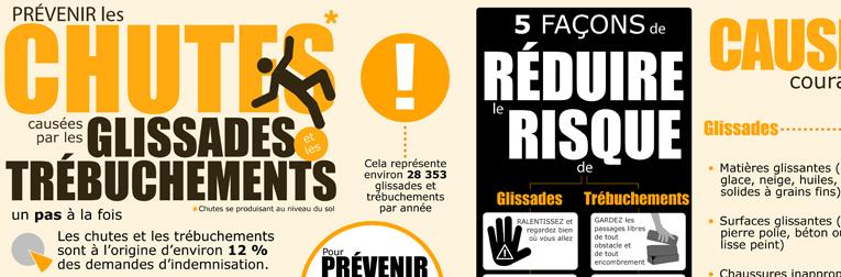 Document infographique : Prévenir les chutes causées par les glissades et les trébuchements