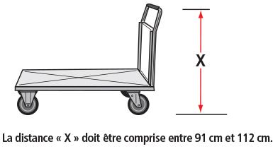 Figure 3 - La poignée horizontale fixe doit se trouver à une hauteur comprise entre 91 cm et 112 cm au-dessus du sol